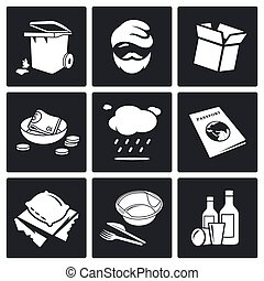 Social phenomenon homeless Vector Icons Set - roofless...