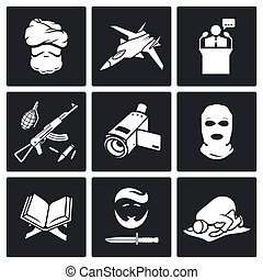 Terrorism Vector Icons Set - Jihad Vector Isolated Flat...