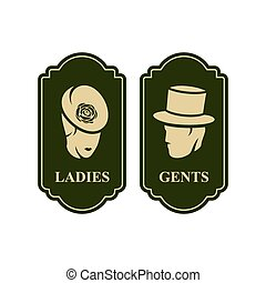Toilet vector sign - male and female toilets sign isolated...
