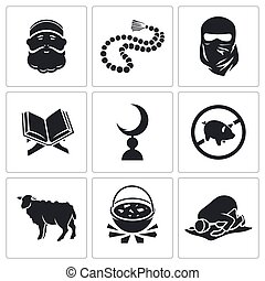 Set of Islamic Vector Icons - Vector Isolated Flat Icons Set...