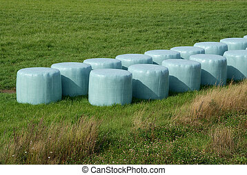 Silage Bales - Silage wrapped in light green plastic It can...