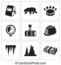 Gas transit Vector Icons Set - construction of the pipeline...