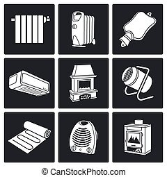 Climate, equipment Vector Icons Set - thermal equipment...