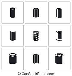 Metallurgy products Vector Icons Set - Metal industry Vector...