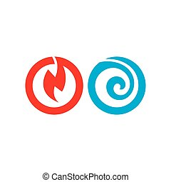 Heat and Cold abstract vector sign - Branding Identity...