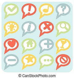 Flat Style Variations Navigation Icons Speech Bubbles