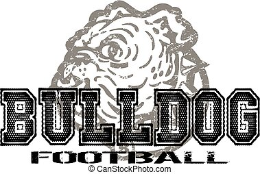 bulldog football design with distressed bulldog mascot