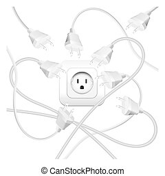 Cable Clutter Plugs Socket - Cable clutter, where many plugs...