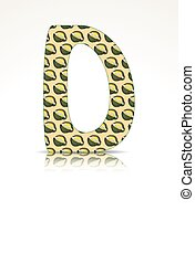 The letter D made of Durian