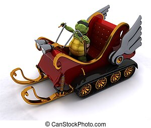 tortoise in a snowmobile sleigh - 3D render of a tortoise in...