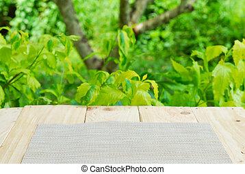 夏天, 木制, 對象, 綠色, 背景, 桌子, 地方