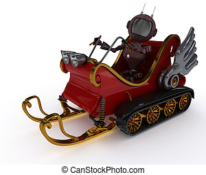 Android in snowmobile sleigh - 3D Render of an Android in...