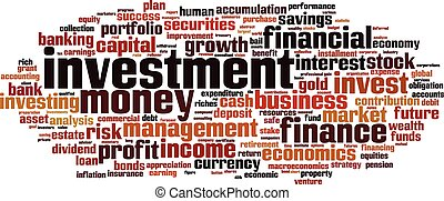 Investment word cloud concept Vector illustration