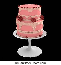 Pink two layer cake - 3d computer generated