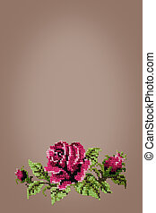 cross embroidered rose on beige  background