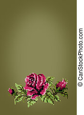 cross embroidered rose on  green background