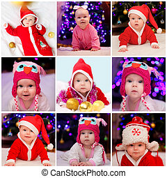 Collage of child celebrating Christmas at home