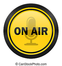 on air icon, yellow logo,
