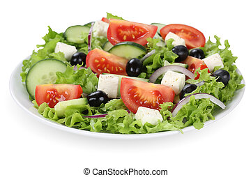 Greek salad with tomatoes, Feta cheese and olives in bowl