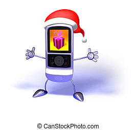 Santa Claus mobile phone - 3D Santa Claus flying mobile...