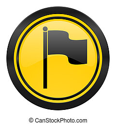 flag icon, yellow logo,