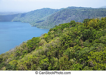 Wonderful volcanic crater lake Apoyo located between the...