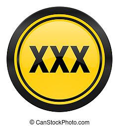 xxx icon, yellow logo, porn sign
