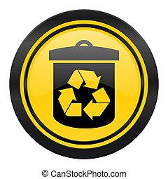 recicle, ícone, amarela, logotipo, reciclagem, sinal,...