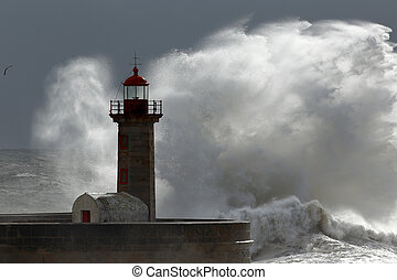 Lighthouse storm - Big wave over old lighthouse, Porto,...