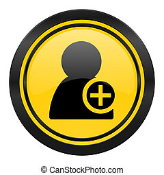 add contact icon, yellow logo,