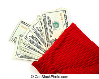 Red money bag - Christmas sock with seasons details and...