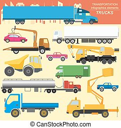 Set of elements cargo transportation: trucks, lorry for...
