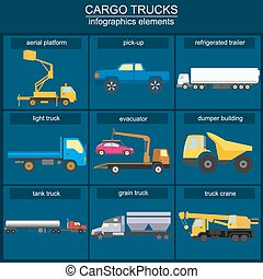 Set of elements cargo transportation: trucks, lorry for...