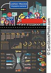 Cargo transportation infographics, trucks, lorry. Elements...