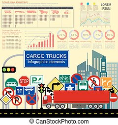 Cargo transportation infographics, trucks, lorry. Elements...
