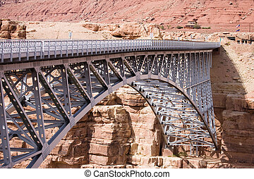 Navajo Bridge - Steel Arch Bridge over the Marble Canyon and...