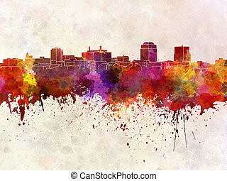 Colorado Springs skyline in watercolor background