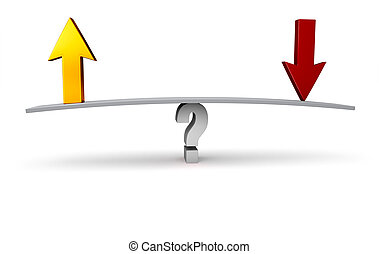 Up Or Down? - A bright, gold Up Arrow and a red Down Arrow...