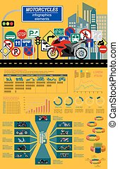 Motorcycles infographic elements - Set of motorcycles...