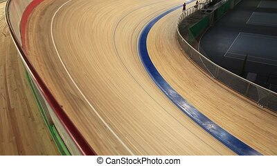 bike track racing - Cycling pursuit in a curve
