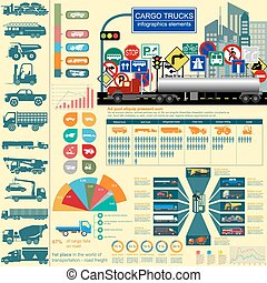 Cargo transportation infographics, trucks, lorry Elements...
