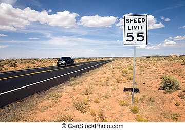 Road sign speed limit 55, USA