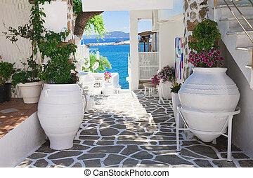 greek tavern - beautiful typical greek tavern on greece