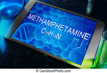 Methamphetamine - the chemical formula of Methamphetamine on...