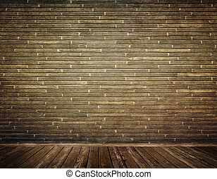 Old bricks wall. - Old bricks wall and old wooden floor...
