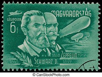 estampilla, schwarz, impreso, zeppelin, Hungría,...