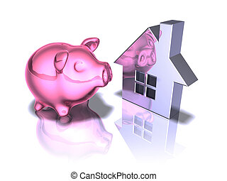 Piggy bank and real estate
