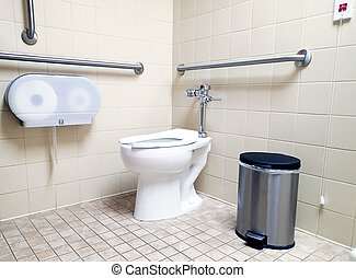 Modern handicapped bathroom for the disabled, with grab bars...