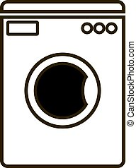 Washing machine icon on white background.