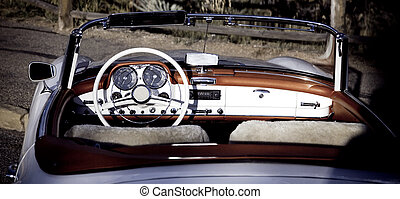 Cabriolet - Vintage car - open Cabriolet white with red